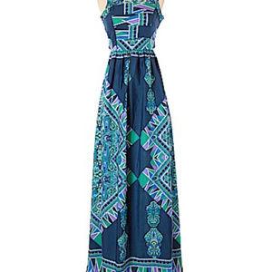 Lovers + Friends Dresses - Lovers + Friends Blue Green Tropical Maxi Sz S